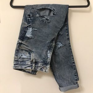 Hand distressed super high waisted jeans